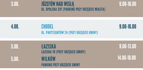 Harmonogram trasy szczepieniobusa 2-6.08.2021 w powiecie opolskim